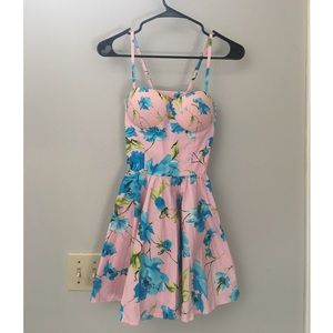 Pink floral bustier dress